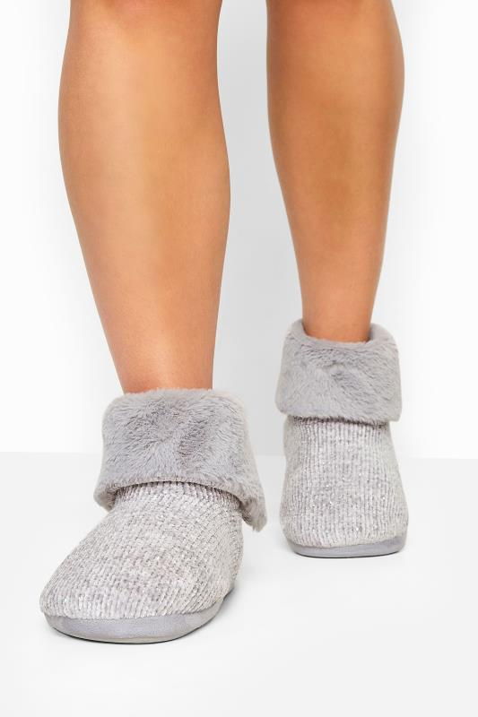 Wide Fit Slippers Grey Diamante Gem Knitted Slipper Boot In Wide Fit