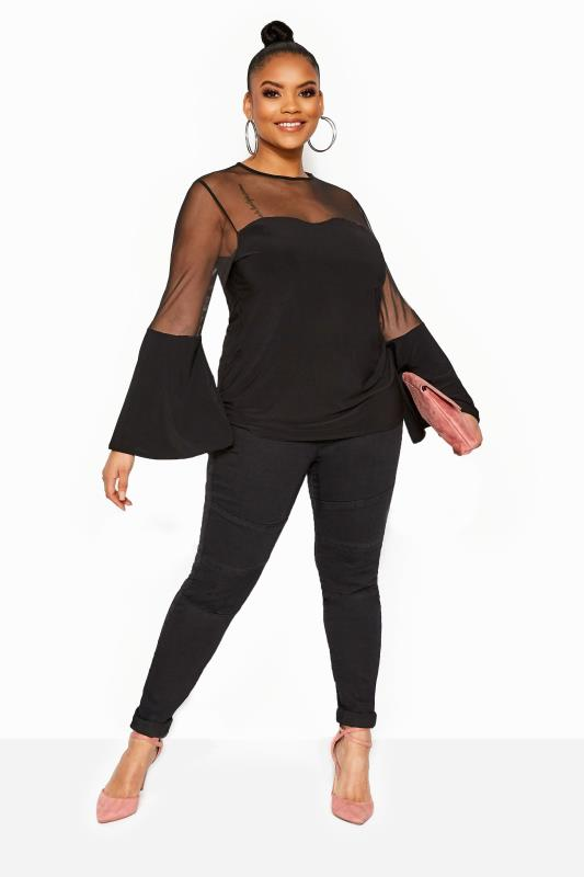 Party Tops LIMITED COLLECTION Black Mesh Sweetheart Flare Sleeve Top