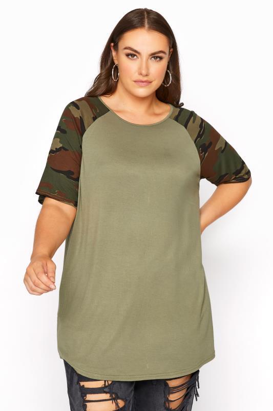 Plus Size Jersey Tops LIMITED COLLECTION Khaki Camo Print Raglan Sleeve T-Shirt