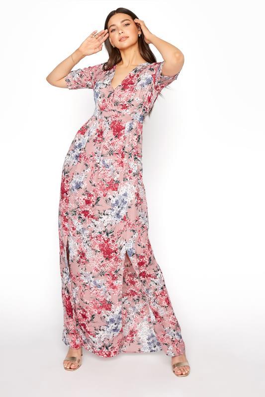 LTS Pink Floral Wrap Front Maxi Dress