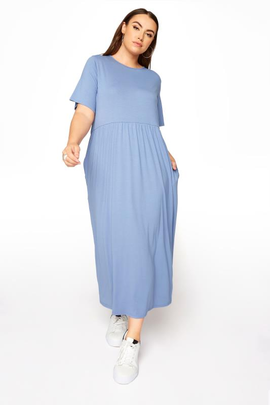 Plus Size  LIMITED COLLECTION Denim Blue Throw On Maxi Dress