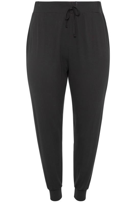 Black Jersey Drawcord Harem Trousers