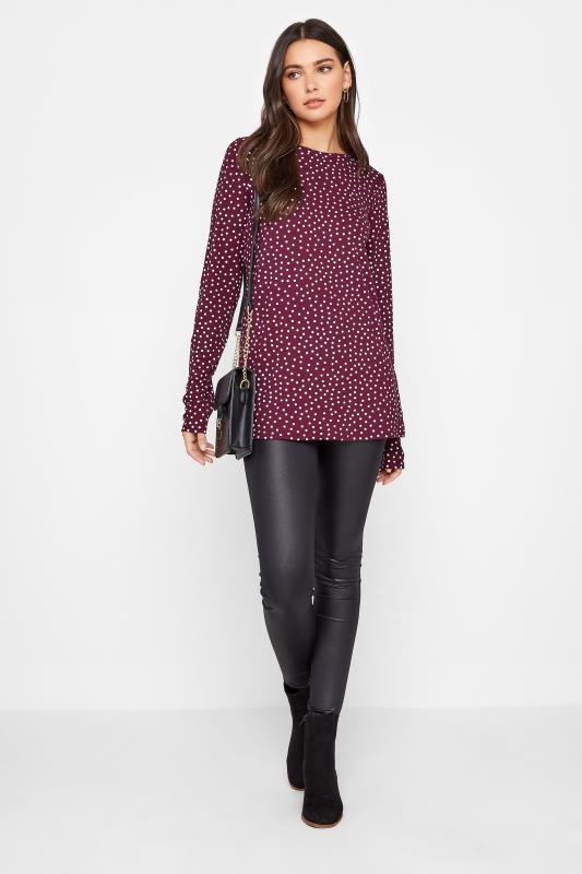 LTS Burgundy Polka Dot Print Long Sleeve T-Shirt_B.jpg