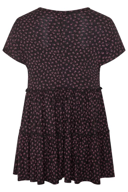 Black Ditsy Floral Peplum Smock Tunic