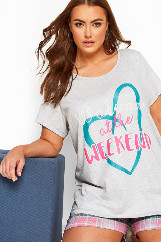 Grey 'Wake Me At The Weekend' Short Pyjama Set