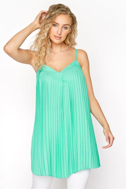 LTS Green Pleated Front Camisole