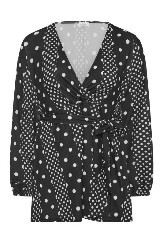 YOURS LONDON Black Polka Dot Wrap Top_F.jpg