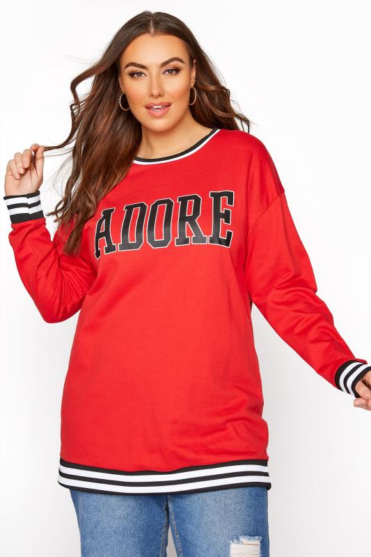 Plus Size  Red 'Adore' Sweatshirt