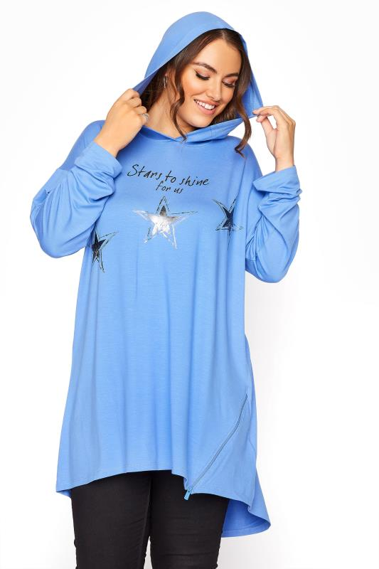 Plus Size  Blue Star Print Tunic Hoodie