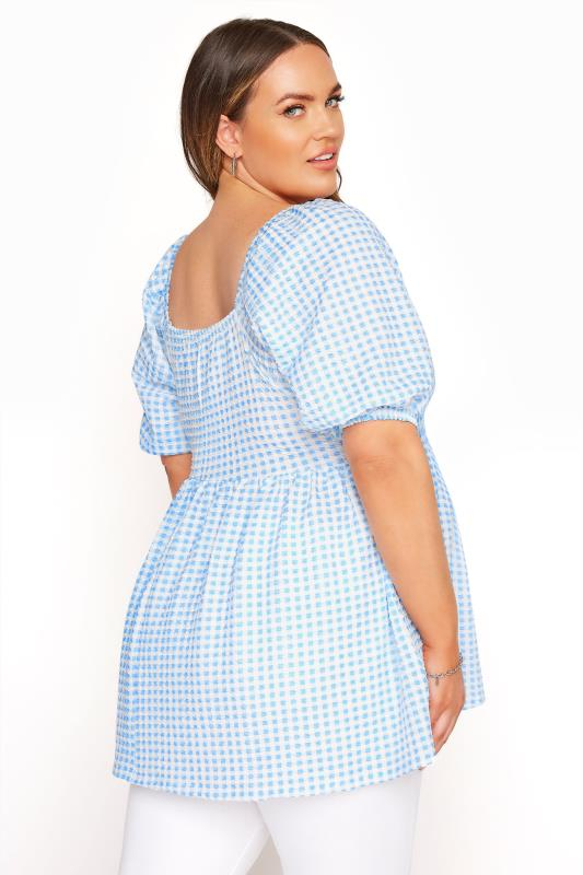 LIMITED COLLECTION Blue Gingham Milkmaid Top_C.jpg