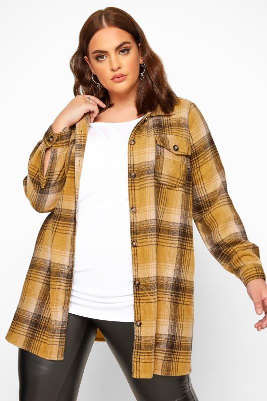 Plus Size Jackets LIMITED COLLECTION Mustard Yellow Check Shacket