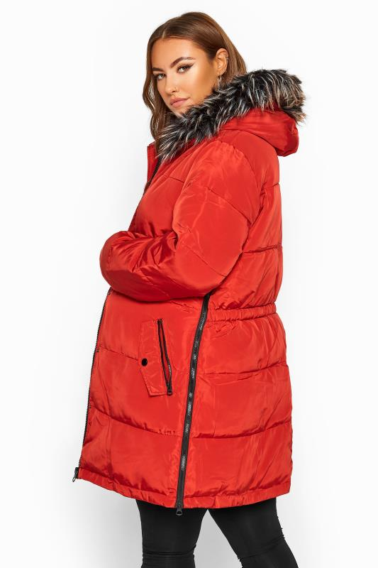 Puffer & Quilted Jackets dla puszystych BUMP IT UP MATERNITY Burnt Orange Zip Up Puffer Coat