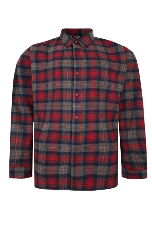 Plus Size  ESPIONAGE Red Check Long Sleeve Shirt
