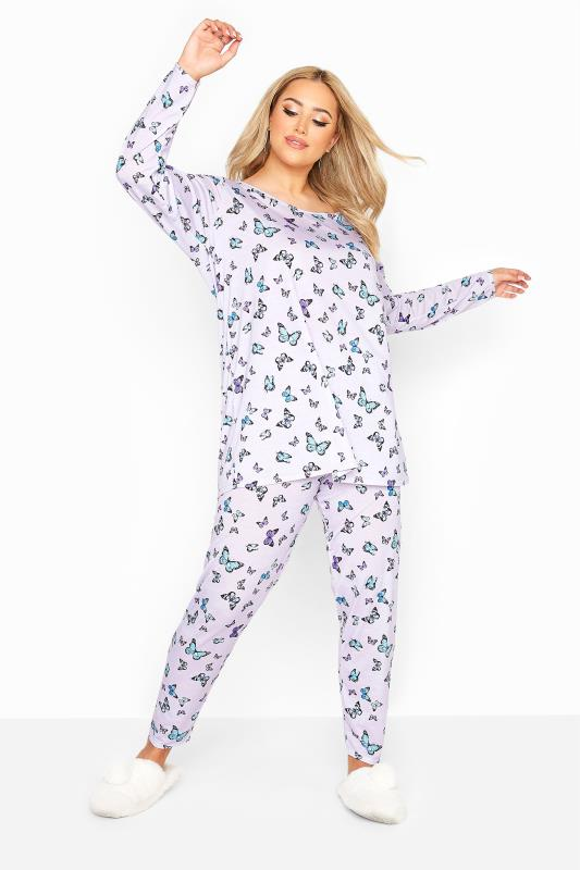 Plus Size  Lilac Butterfly Lounge Set