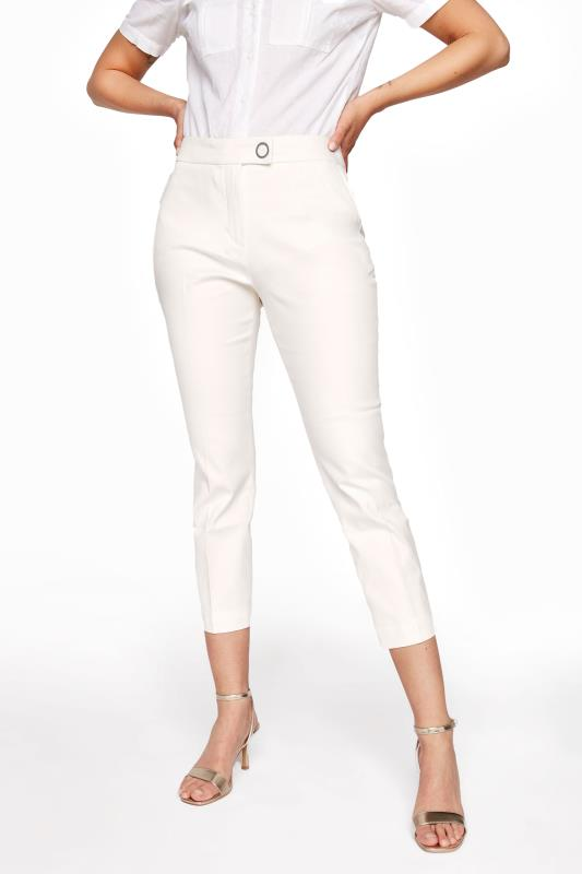 White Smart Cotton Sateen Crop Trousers