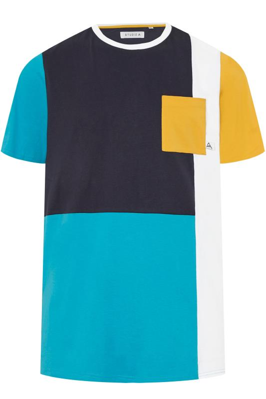 Plus Size T-Shirts STUDIO A Multi Colour Block T-Shirt