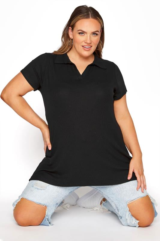 Plus Size  Black Ribbed V-Neck Polo Top