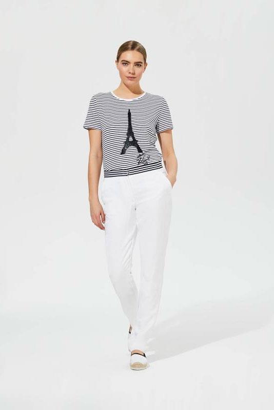 Karl Lagerfeld Paris Stripe Waistband White Trousers