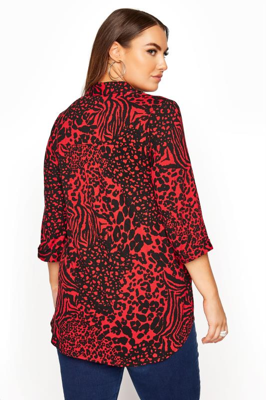 YOURS LONDON Red Animal Print Button Blouse_C.jpg