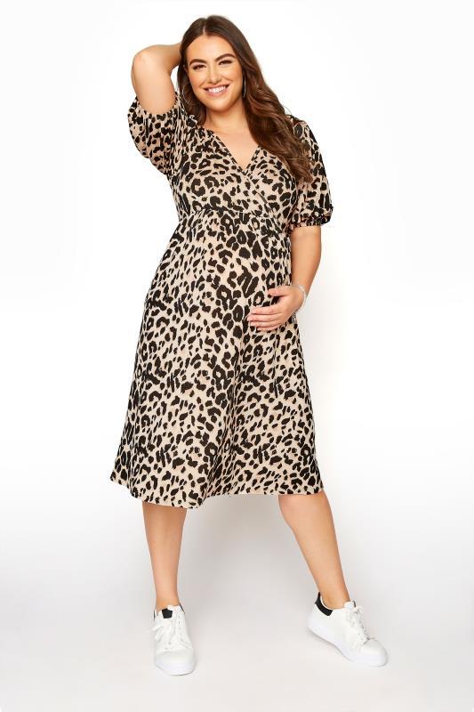 BUMP IT UP MATERNITY Natural Animal Print Wrap Dress_B.jpg