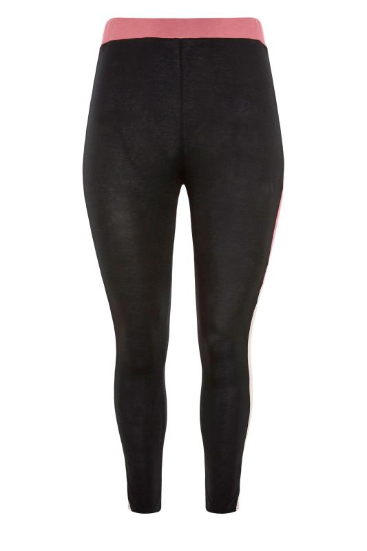 LIMITED COLLECTION Black & Pink Colour Block Leggings_F.jpg