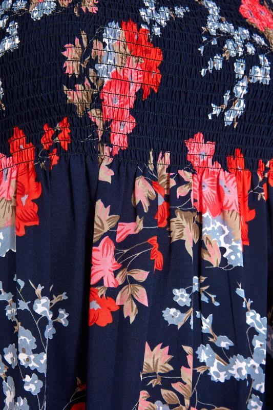 Blue Floral Shirred Maxi Dress_S.jpg