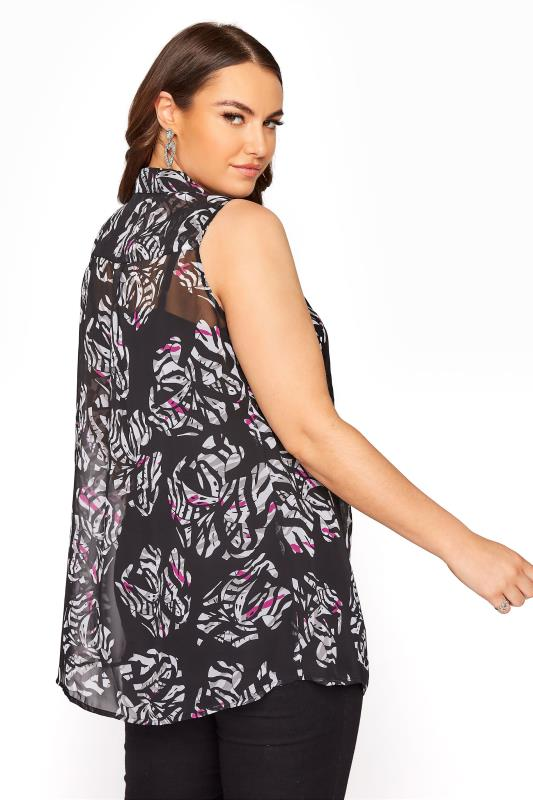Black and White Floral Print Frill Front Sleeveless Shirt_C.jpg