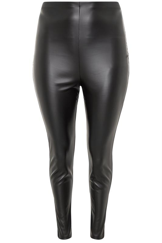 YOURS LONDON Black Skinny Leather Look Trousers