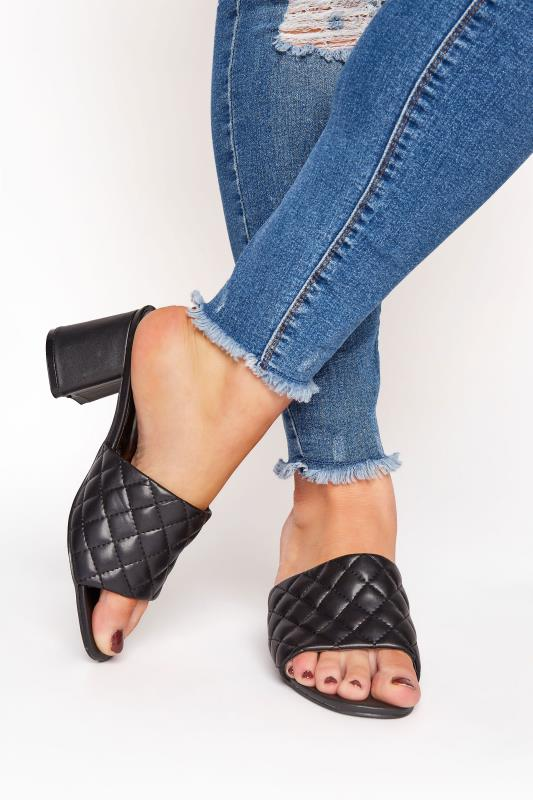 LIMITED COLLECTION Black Quilted Heeled Mules In Extra Wide Fit