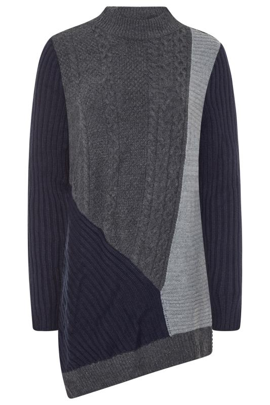 Tall  CURATD. x LTS Grey Colour Block Knitted Tunic