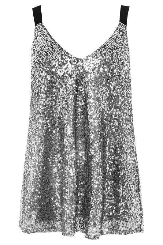 Tall  Silver Sequin Cami Top