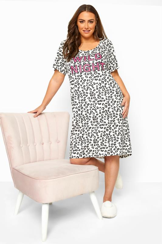 Plus Size  White Animal Print 'Wild Night' Slogan Nightdress