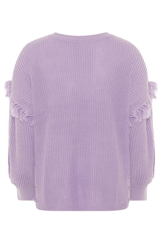 Lilac Purple Tassel Sleeve Chunky Knitted Jumper_BK.jpg