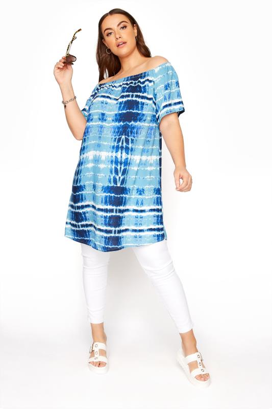 Plus Size  Blue Tie Dye Gathered Gypsy Tunic