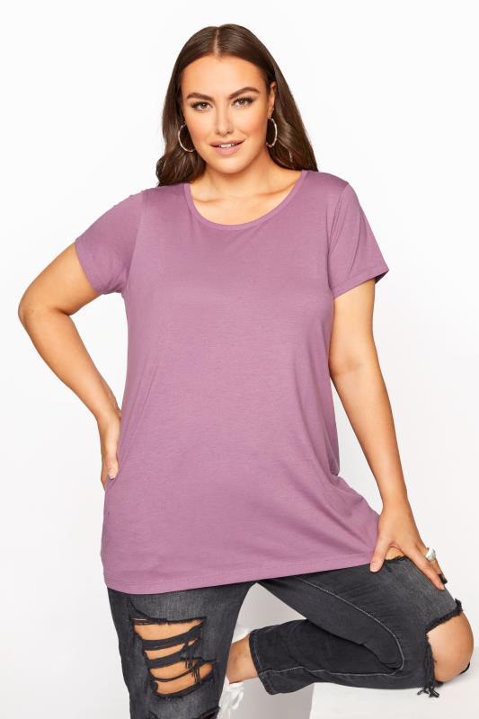 Plus Size  Mauve Short Sleeve T-Shirt