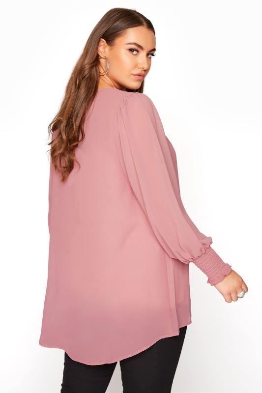 YOURS LONDON Pink Balloon Sleeve Shirt_C.jpg