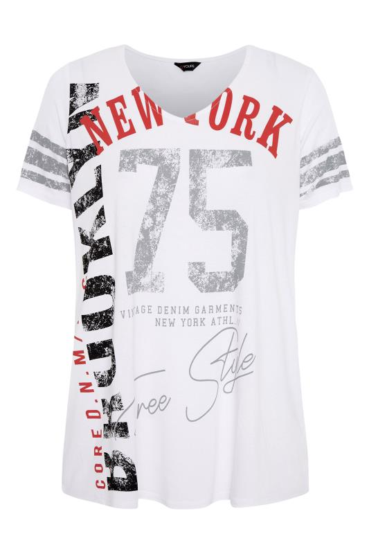 White Printed V-Neck T-Shirt_F.jpg