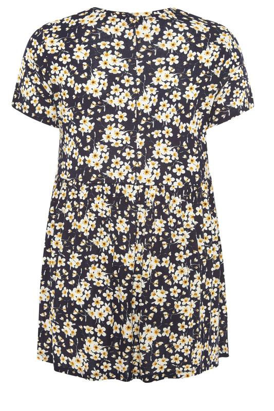 BUMP IT UP MATERNITY Black Floral Smock Top_BK.jpg