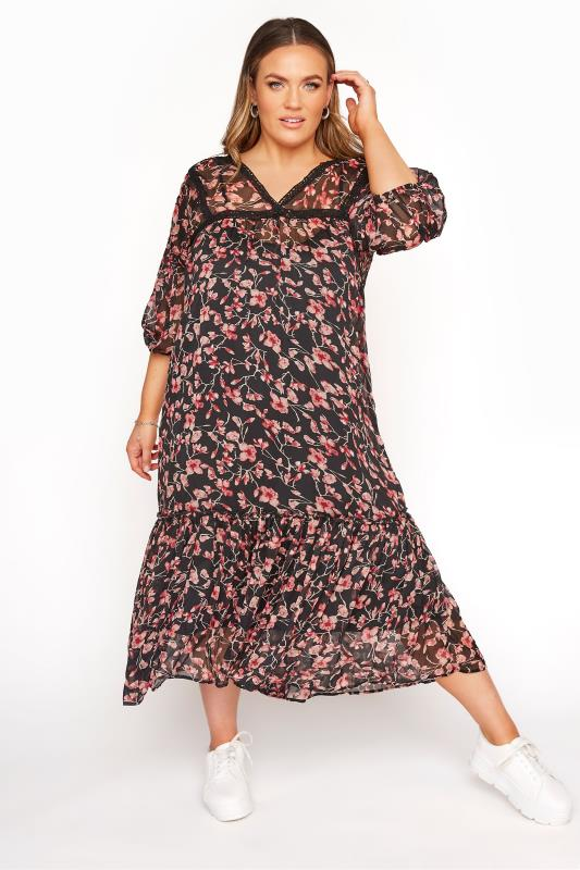 Plus Size  LIMITED COLLECTION Black Floral Lace 2 in 1 Maxi Dress