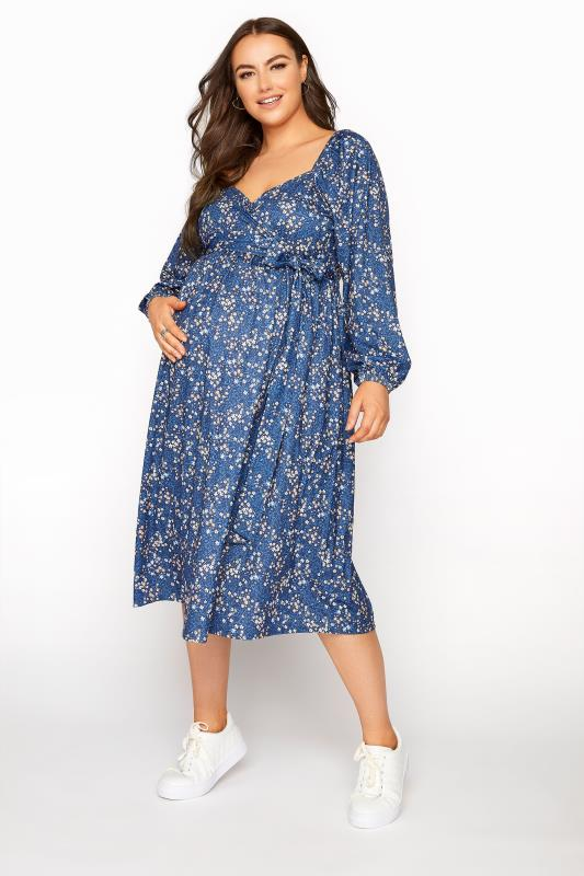 BUMP IT UP MATERNITY Blue Ditsy Wrap Dress_A.jpg