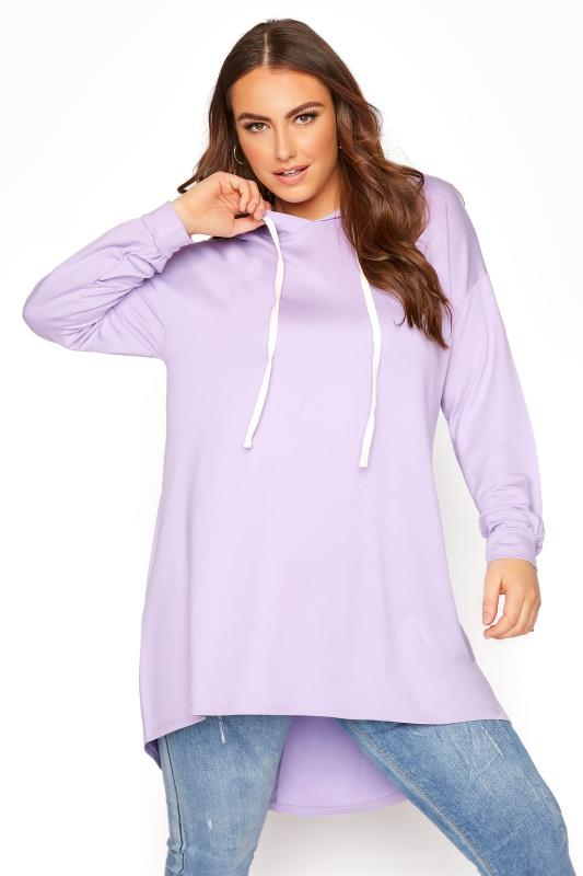 Plus Size  Lilac Tunic Hoodie