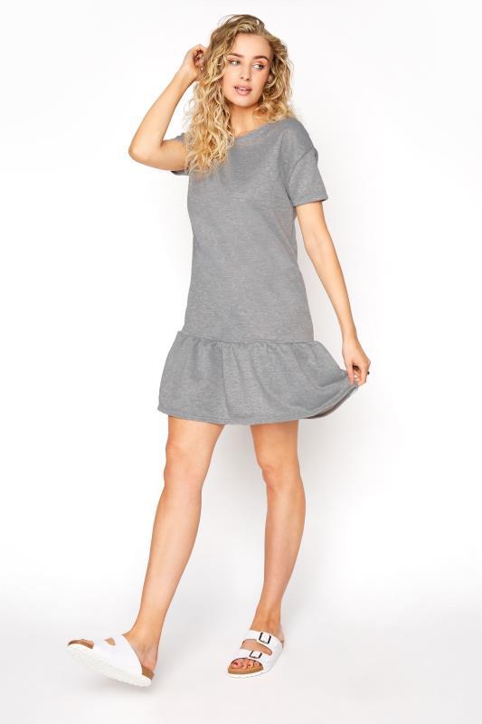 LTS Light Grey Marl Jersey Sweat Frill Hem Dress