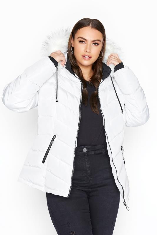 Plus Size  White Padded Puffer Jacket