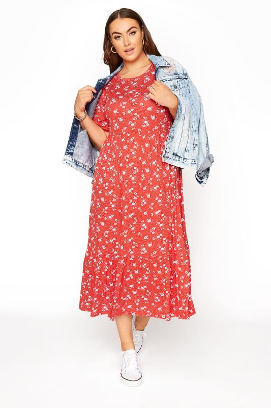 Red Floral Short Sleeve Midi Dress_B.jpg