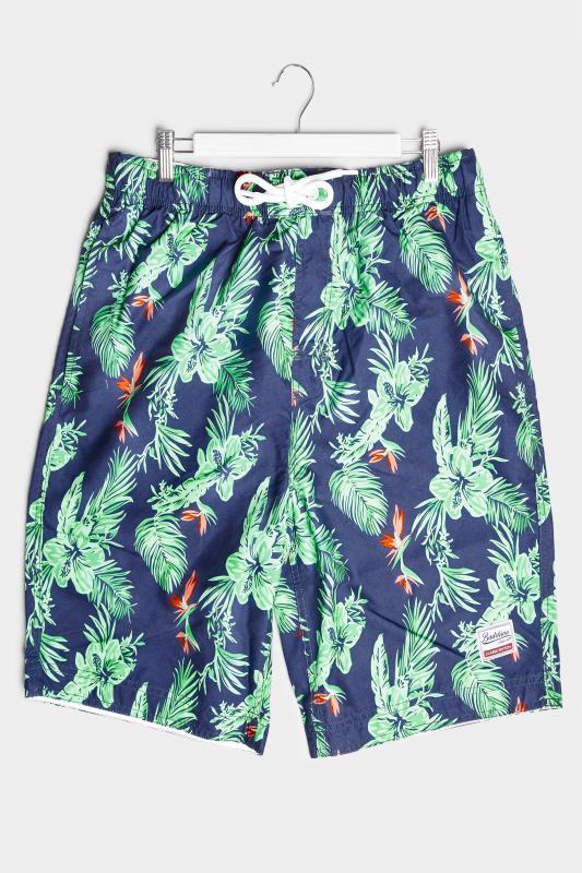 Men's  BadRhino Navy Hibiscus Cargo Swim Shorts