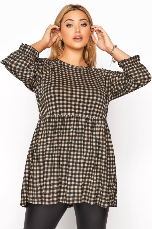 Plus Size  LIMITED COLLECTION Natural Gingham Raglan Top