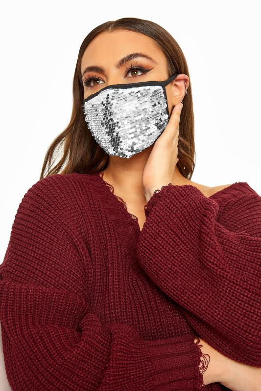 Plus Size  Silver Sequin Face Mask