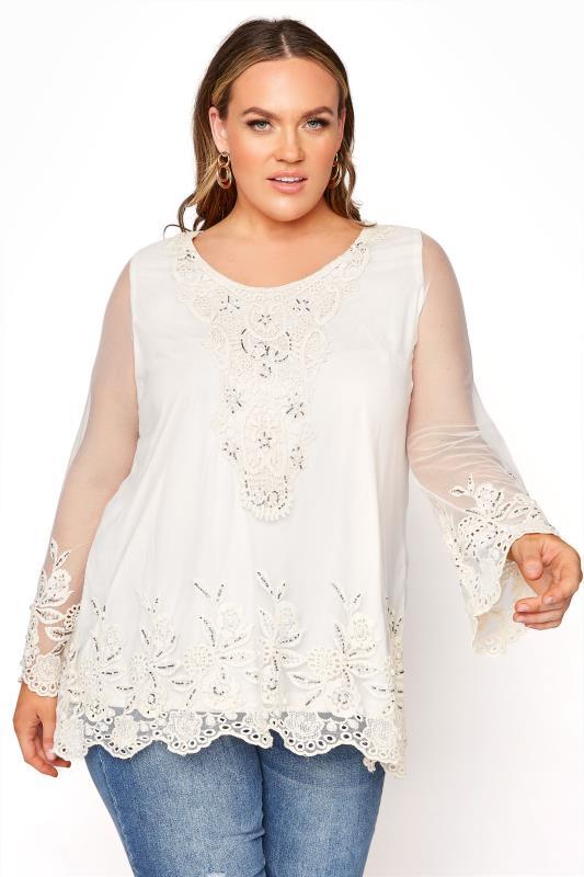 Plus Size  White Lace Embellished Tunic