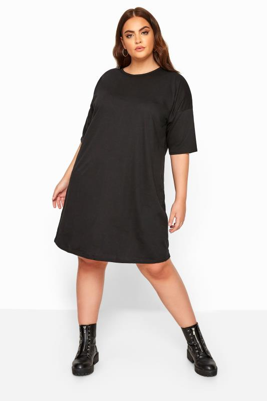 LIMITED COLLECTION Black Cotton Oversized T-Shirt Dress