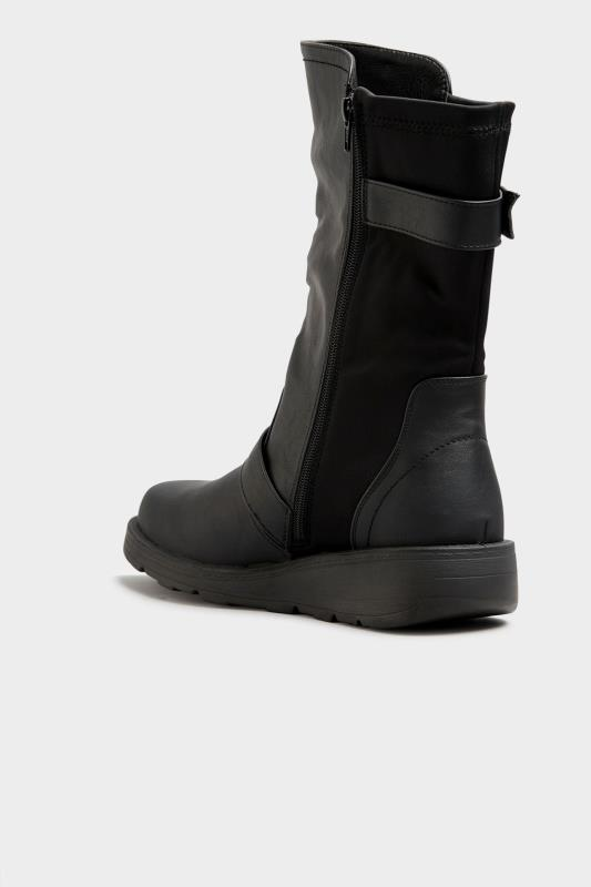 Black Faux Leather Wedge Buckle Boots In Extra Wide Fit_C.jpg
